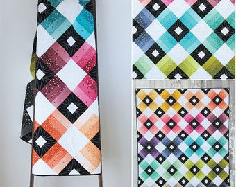 Ombre Lattice quilt pattern, V and Co Quilting Patterns, Ombre Confetti, Modern Quilt, Teen Decor, Baby Quilt,