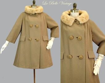Mink Collar Tent Coat M L Vintage 60s Basket Weave Wool Double Breast Peacoat