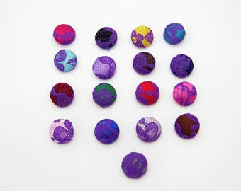 Lot of 10, Purple Lace Satin Buttons with your Color of Choice & Size