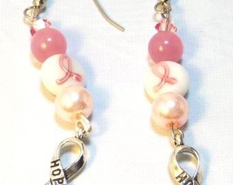 Hope Breast Cancer Earrings - Breast Cancer Awareness - Pink Cancer - Cancer Earrings - Pink Awareness - Warrior - Cancer Survivor Gift