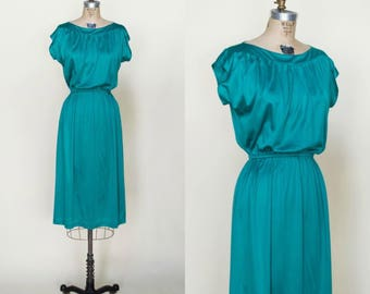 1970s Green Secretary Dress --- Vintage Teal Dress