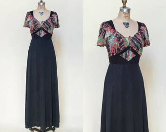 Vintage Maxi Dress --- 1970s Black Dress