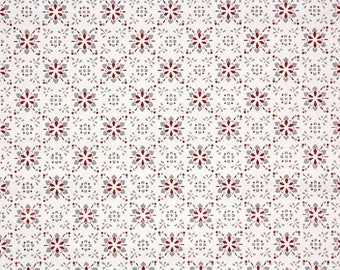 1940s Vintage Wallpaper by the Yard - Geometric Wallpaper Green and Red on White
