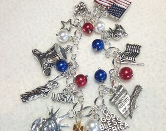 American Charm Bracelet. Proud to be American. USA. Patriotic.Charm bracelet  BC41