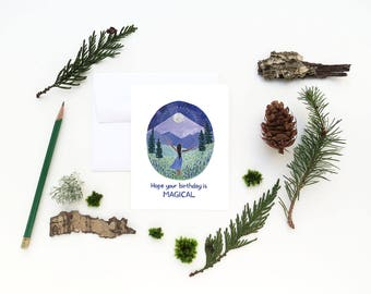 Magical Birthday Card / Woodland Birthday Card / Watercolor Card / Greeting Card / Moon Birthday Card / Pacific Northwest Card / Full Moon