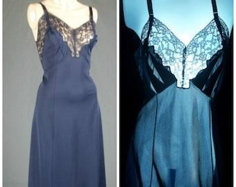 vintage nylon full slip negligee bombshell pinup dreamy 60s artemis lace lingerie 36 tall navy blue medium retro dress slip