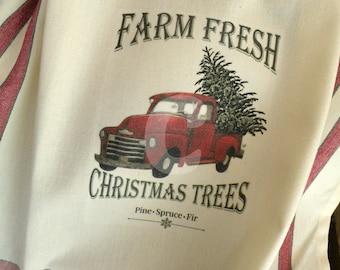 Old Red Truck Christmas towel Prairie Farmhouse cotton Kitchen red stripe ECS RDT FVGTEAM OFGTeam