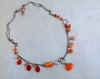 Carnelian Necklace - Orange Aventurine Necklace - July Necklace - Boho Necklace - Earthy Necklace - Rustic Oxidized Sterling Silver Necklace