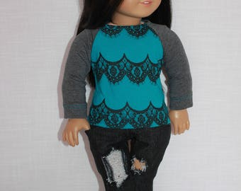 18 inch doll clothes, lace print long sleeve shirt, dark wash ripped skinny jeans, Upbeat Petites