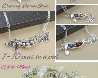 Mommy necklace, pea pod necklace, 123456789, 10 peas, sterling silver, personalized gift for mom, baby shower gift, grandma gift, for wife