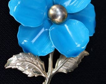 Vintage Royal Blue Enamel Flower Lapel Pin/Broach with Goldtone Stem and Center