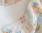 Adorable Vintage Baby Quilt in Baby Blue with Retro Animals and Letters in Pastel Pink Yellow and Blue Mid Century Vintage Baby Nursery Boy
