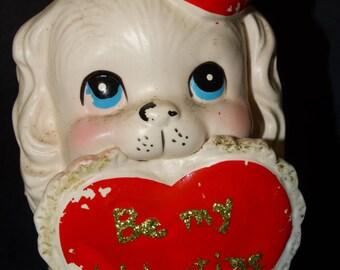 Valentine Flower Pot, Puppy Dog, Be My Valentine, Sweet Heart Puppy, Heart, Doggie, Napco, Enesco Valentine Puppy Planter, Sweetheart