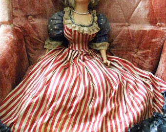 """Antique Patriotic Boudoir Doll 31"""" Tall Betsy Ross Flapper Era Bed Doll in Stars and Stripes"""