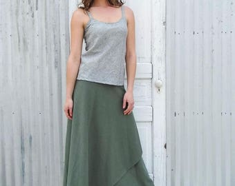 Full Length Hemp Wrap Skirt - Long Layered Adjustable Skirt - Made to Order in the USA from Hemp & Organic Cotton Jersey by Yana Dee