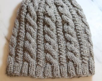 Gray Cabled Fisherman's Hat
