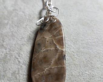 Petoskey stone,Necklace, Michigan stone