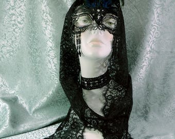 Elegant Black metal Filigree Mask / Headress with beaded fringe, clear crytals and feathers