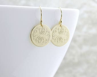 Gold Circle Earrings Engraved Gold Disc Earrings Mandala Earrings Gold Flower Earrings Gold Dangle Earrings Gift For Her Engraved Jewelry