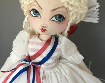 Marie Antoinette Doll, 18th century, French Revolution Art Doll, Fabric Cloth Rag, vintage lace and fabric, panniers, France Bed Doll figure