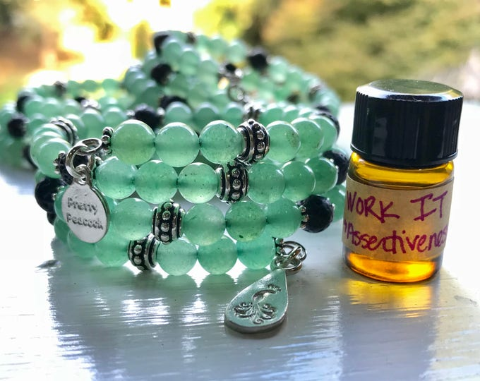 Featured listing image: Aventurine Essential Oil Diffuser Fully Adjustable Bracelet with Sample of Assertiveness Essential Oil Blend