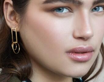 Bobbi Earrings / gold, geometric gold earrings, long post stud earrings gold, cocktail earrings, modernist earrings, long gold earrings