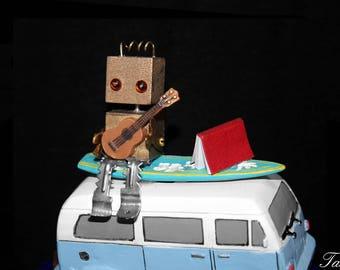 Robot Sculpture, Classic Car, Found Object Art, Beach Home Decor
