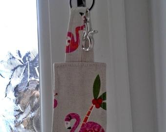 Keyring, Flamingo keyring, handmade keyring, linen fabric keyring, gift for her