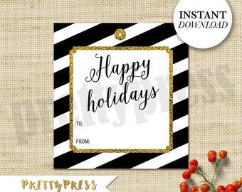 Black and Gold Holiday Gift Tags, Printable Christmas Tags, Printable PDF, Instant Download, Holiday Party, Gift Tags, Happy Holidays