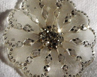 ANTIQUE Scallop Edge Original Lacy Glass Flower Button