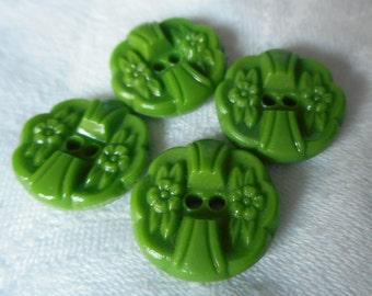 Set of 4 VINTAGE Flower Green Glass Sew Thru BUTTONS