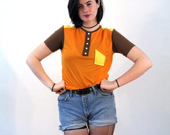 Shayna, 70s Colorblock Top, Mod Top, Orange Stretchy Jersey Knit Retro Tee, Mod Retro Top, Short Sleeve Top, Mod 70s Top, M