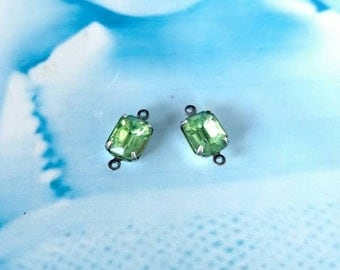 Vintage Peridot Green  10x8mm CZECH Crystal Stones in a Silver ox Connector Prong Setting  581SOXCON x2