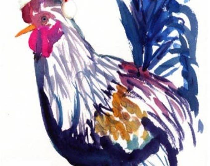 Printable DIY 5x7 pdf Santa Chicken Rooster with Santa Hat Holiday Cards