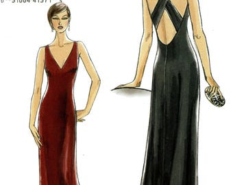Vogue V8358 Easy Evening Long Dress Criss Crossed Back Size 4 6 8 10 Uncut Sewing Pattern 2007