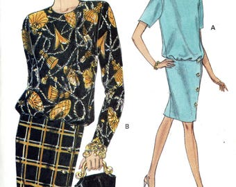 Vogue 8420 Easy Dress Dropped Waist Blouson Bodice Straight Skirt Size 8 10 12 Uncut Vintage Sewing Pattern 1992