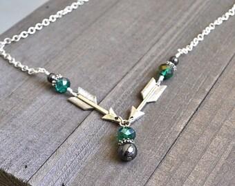 Silver Arrow Necklace Green Crystals Double Arrow Design Green Arrow Pendant Hematite Accent Beads