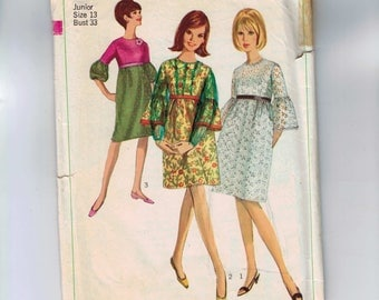 1960s Vintage Sewing Pattern Simplicity Juniors Misses High Waisted Dress with Bell Sleeves Size 13 Bust 33 1966 60s