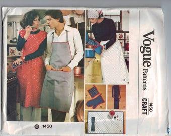 1970s Vintage Sewing Pattern Vogue Patterns 1450 Craft Kitchen Apron Butcher Dress Half Placemat Potholder UNCUT 70s
