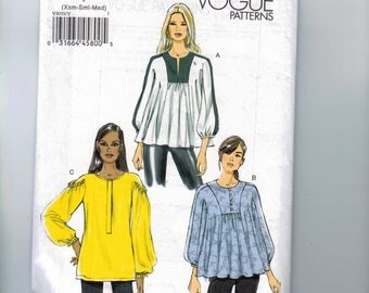 Misses Sewing Pattern Vogue 9059 V9059 Pullover Loose Fitting Top and Tunic Size XS Small Medium Size 4 6 8 10 12 14 UNCUT