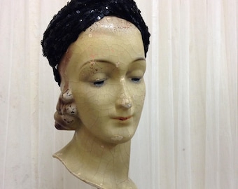 Handmade Sequin fabric 1940's Turban headband in Black Sequin Stretch twisted headband hairband with elastic