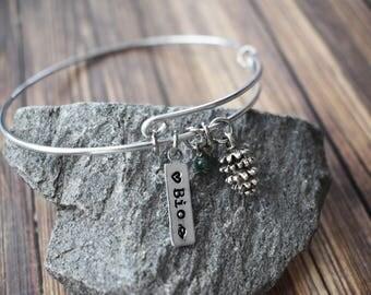 Love Biology Bangle Bracelet- Science Bio Student Stamped Adjustable Bracelet- Silver Plate Wire Coil Charm Bracelet