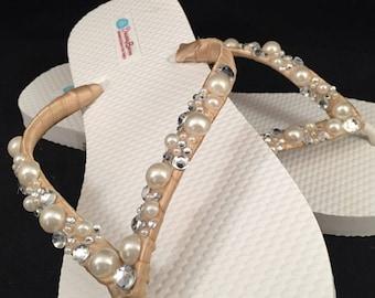Wilomena Bridal Flip Flops, Pearl Custom Flip Flops, Pearl Bling Dancing Shoes, Bling Bridal Sandals, Wedding Flip Flops Beach Wedding Shoes