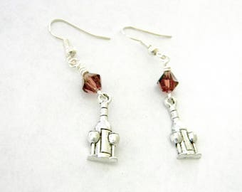 Wine Bottle Earrings Silver Color Dangle Earrings Wine Glass Earrings Purple Glass