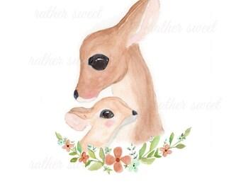 Woodland Deer/Nursery Art Printable/ Floral Deer/Watercolor Instant Art/Digital Download/Birth Announcement/Wall Art/Neutral Nursery/DIY
