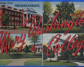 Large Letter Greetings Mary Washington College Fredericksburg Virginia Linen Postcard Unused