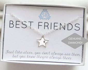 Best Friend Gift • Diamond & Star Necklace • Genuine Diamond • Star Charm • Lucky Star •  BFF Gift • Best Friends Are Like Stars