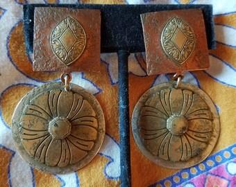 Brass Copper and Silvertone Large Dangle Boho Earrings