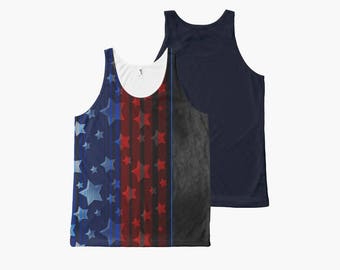 USA Stars and Stripes Blue and Red Rococo Men's Tank Top