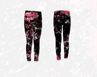 Pink and Black Leggings, Modern Abstract Scratch Pattern Stretchy Leggings for Pre-Teen and Teen Girls, Youth Athletic Wear